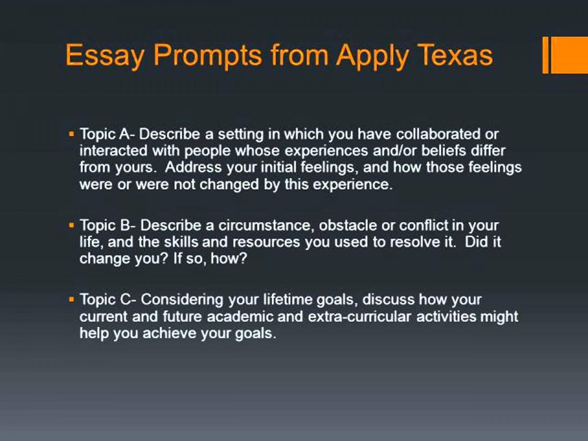 002 Apply Texas Essay Prompts Youtube Topic Examples Maxresde Example Wonderful Applytexas 2018-19 Prompt C Ut Austin 1920