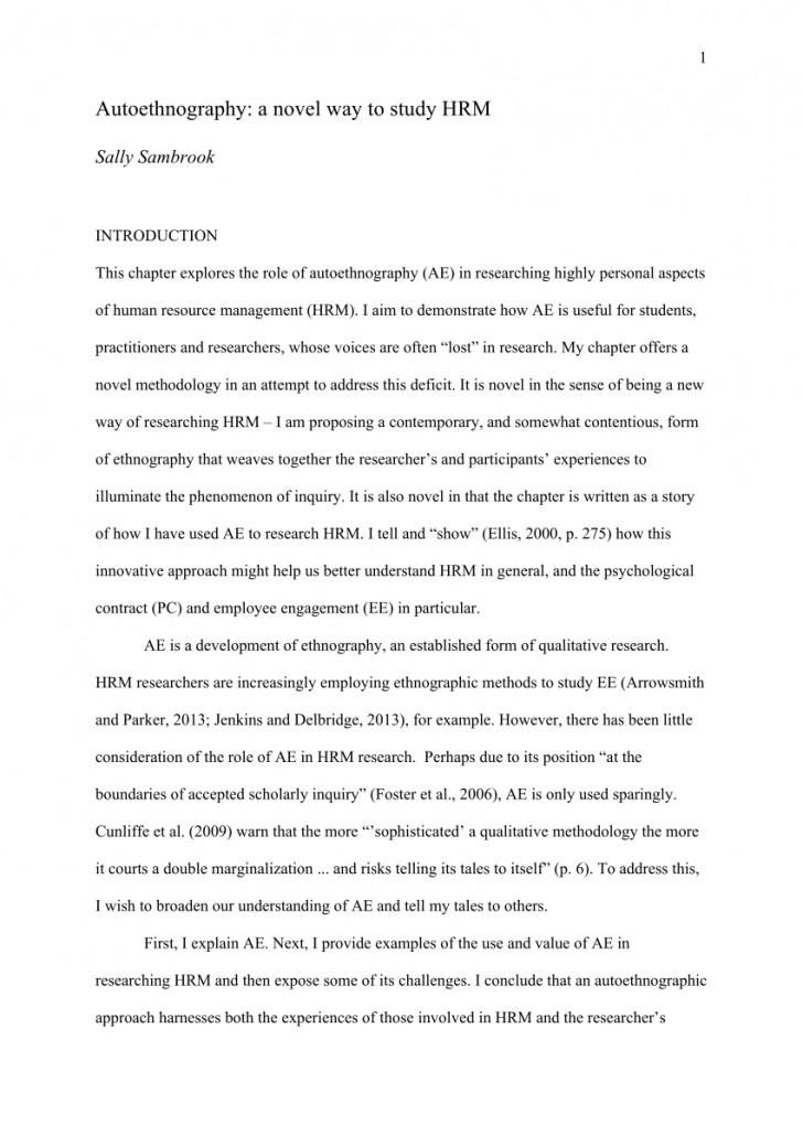 002 Autoethnography Example Essays Essay Best Examples Pdf Sample 728