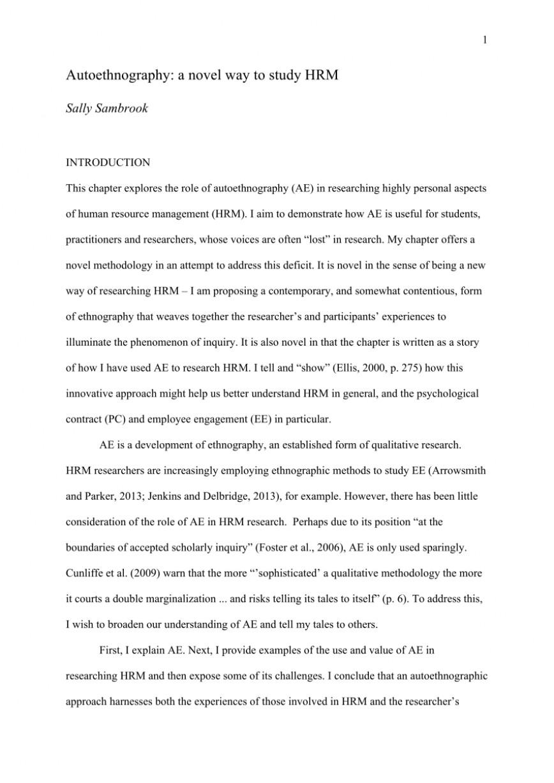 002 Autoethnography Example Essays Essay Best Examples Pdf Sample 868