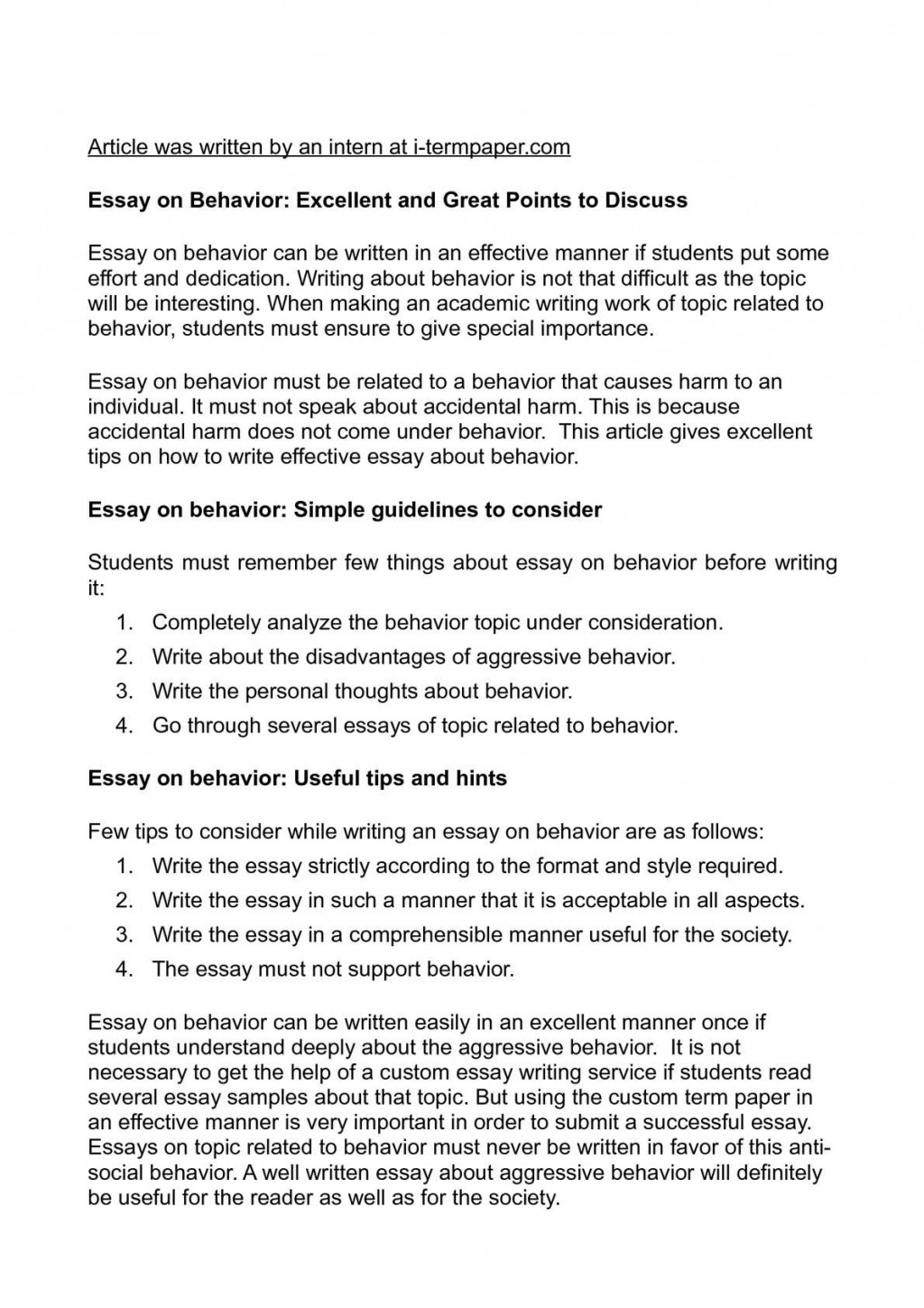 002 Behavior Essay Example Astounding Deviant Topics Pdf Essays For Elementary Students To Copy Large