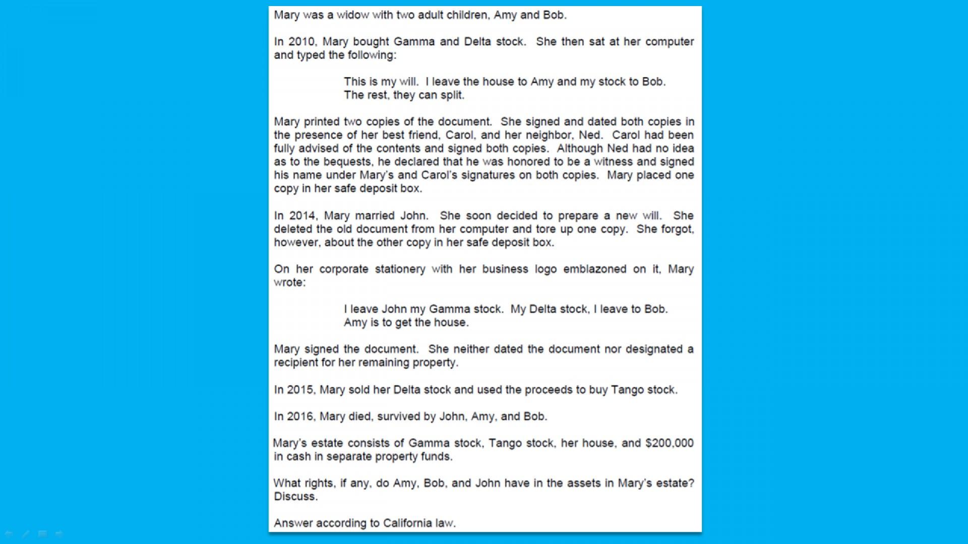 002 California Bar Essays Fizo8ngptrkpbhjfw6id Firstframe Essay Marvelous Exam Graded February 2018 How Are 1920