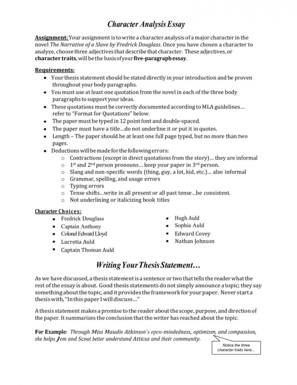 002 Character Essay 009629727 1 Wondrous Prompts Rubric Writing 960