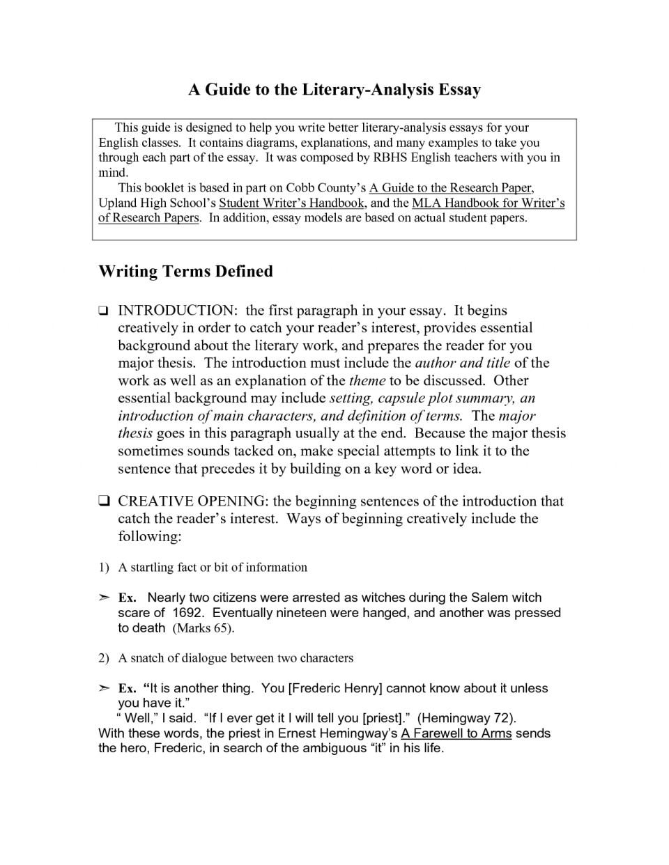 Critical analysis essays
