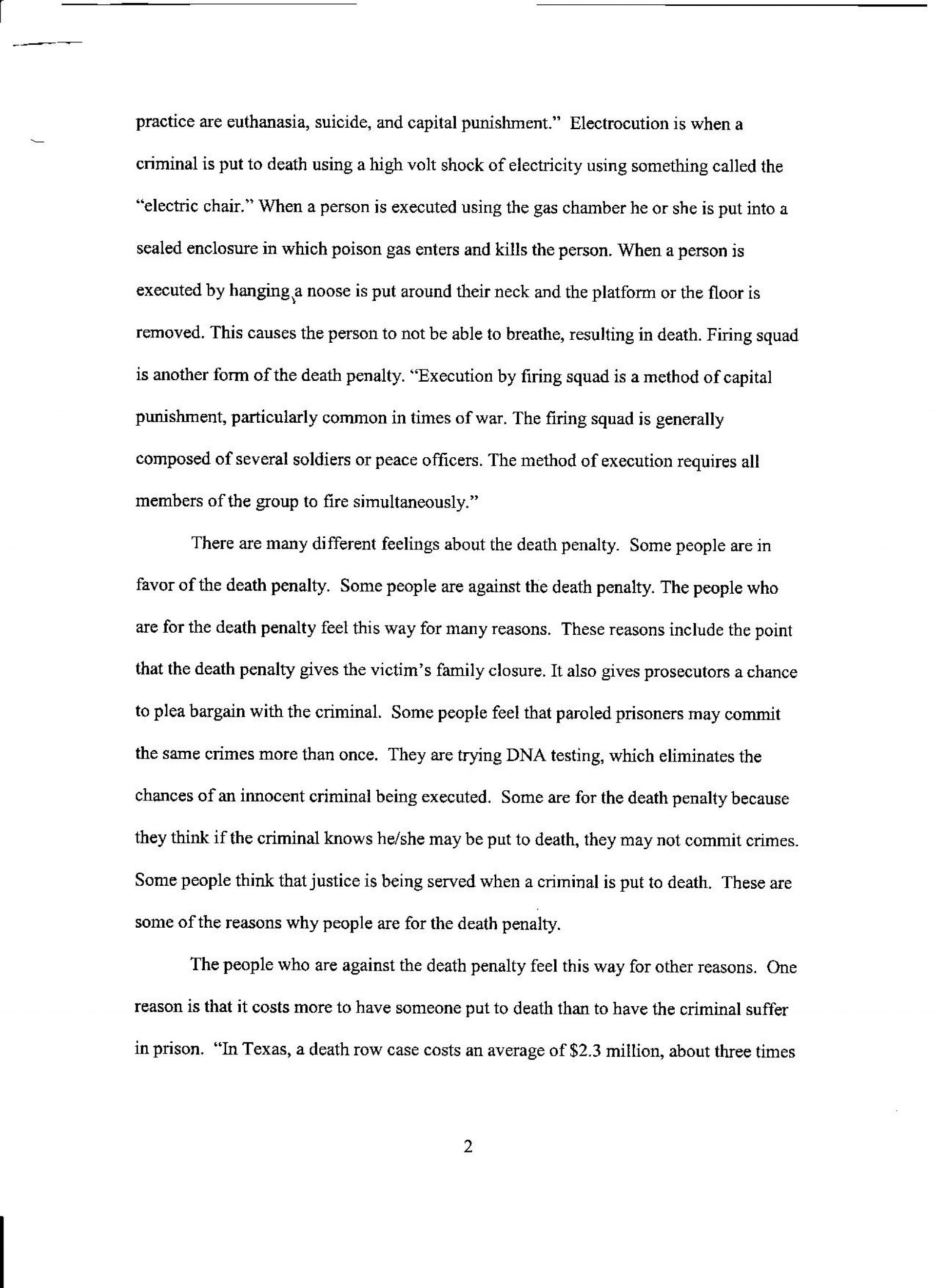 002 Death Penalty Essays Pg Essay Sensational Anti Conclusion Hook For Pro Argumentative 1920