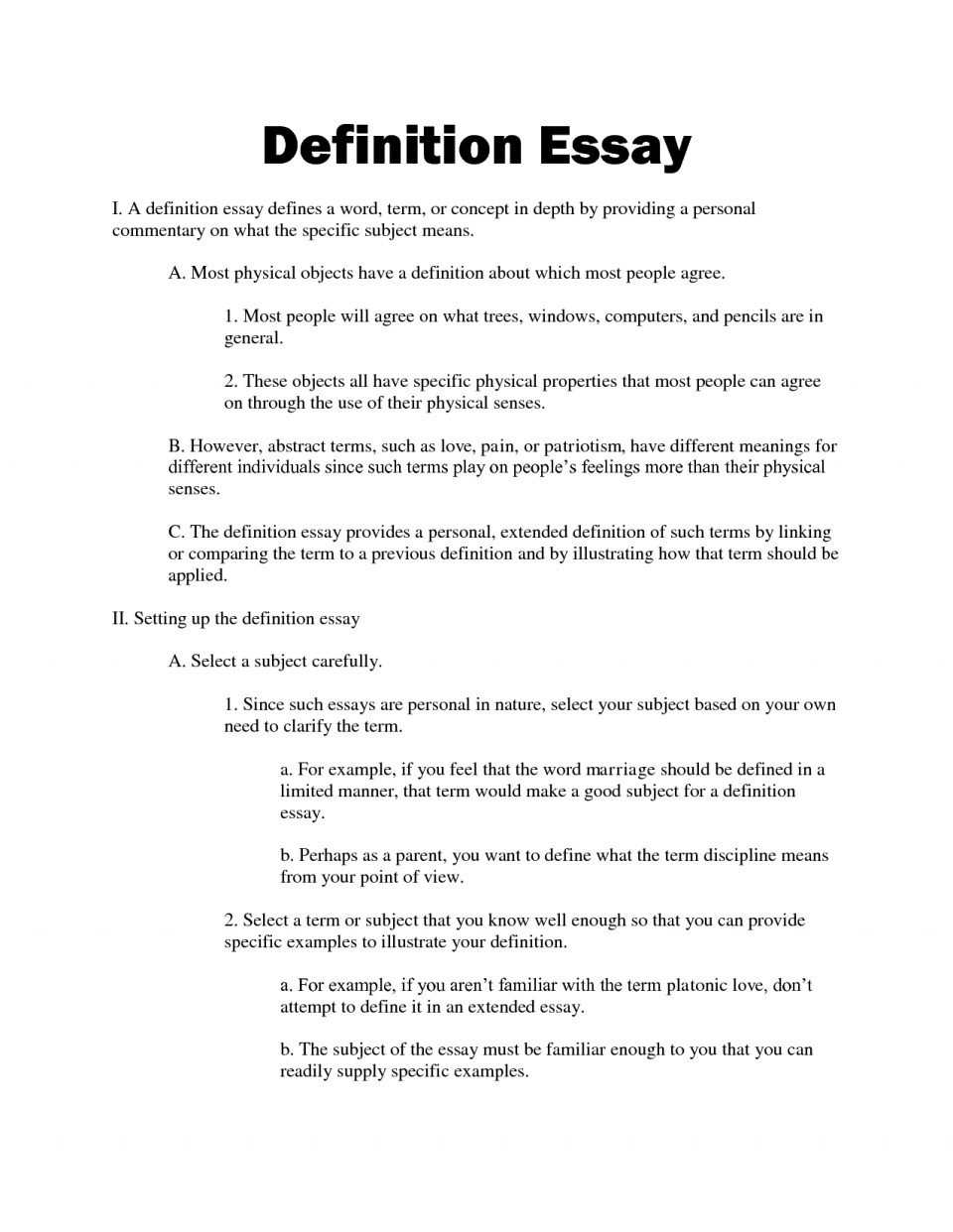 Definition essay ideas