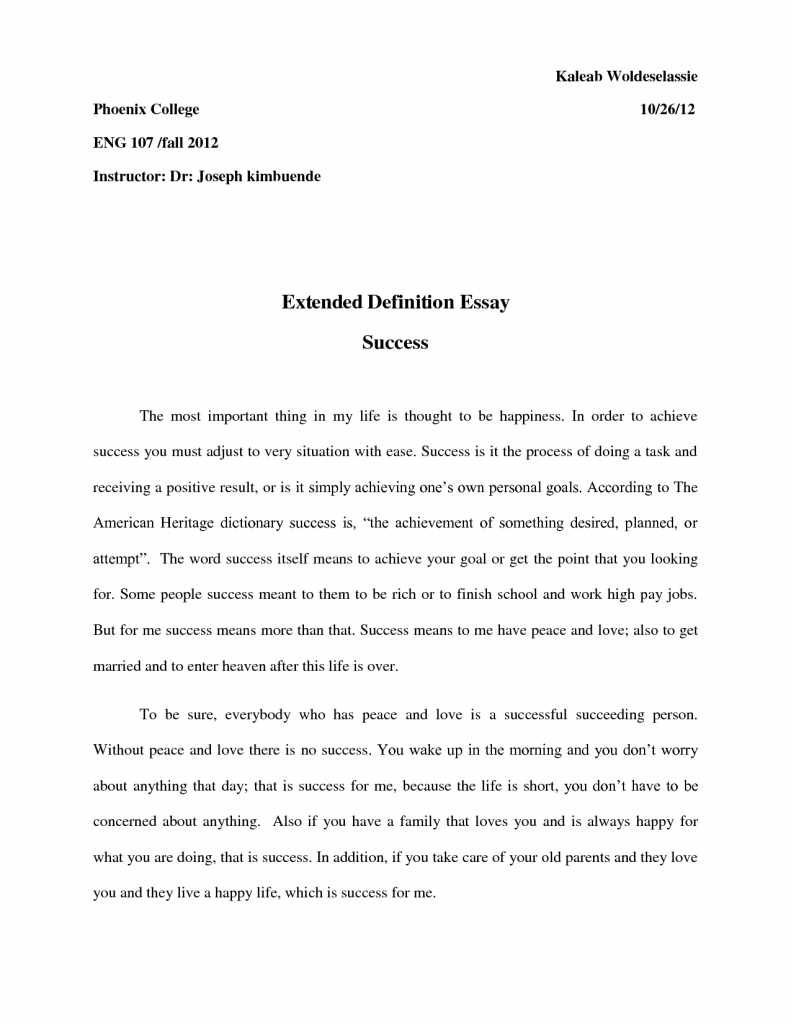 002 Definition Of Success Essay Example Best Soluti Examples Perfect Invoice Template Word Awesome Outline Full