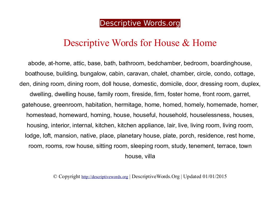 002 Descriptivewords For Home Descriptive Essay Beautiful Describing Sweet Ideal Full