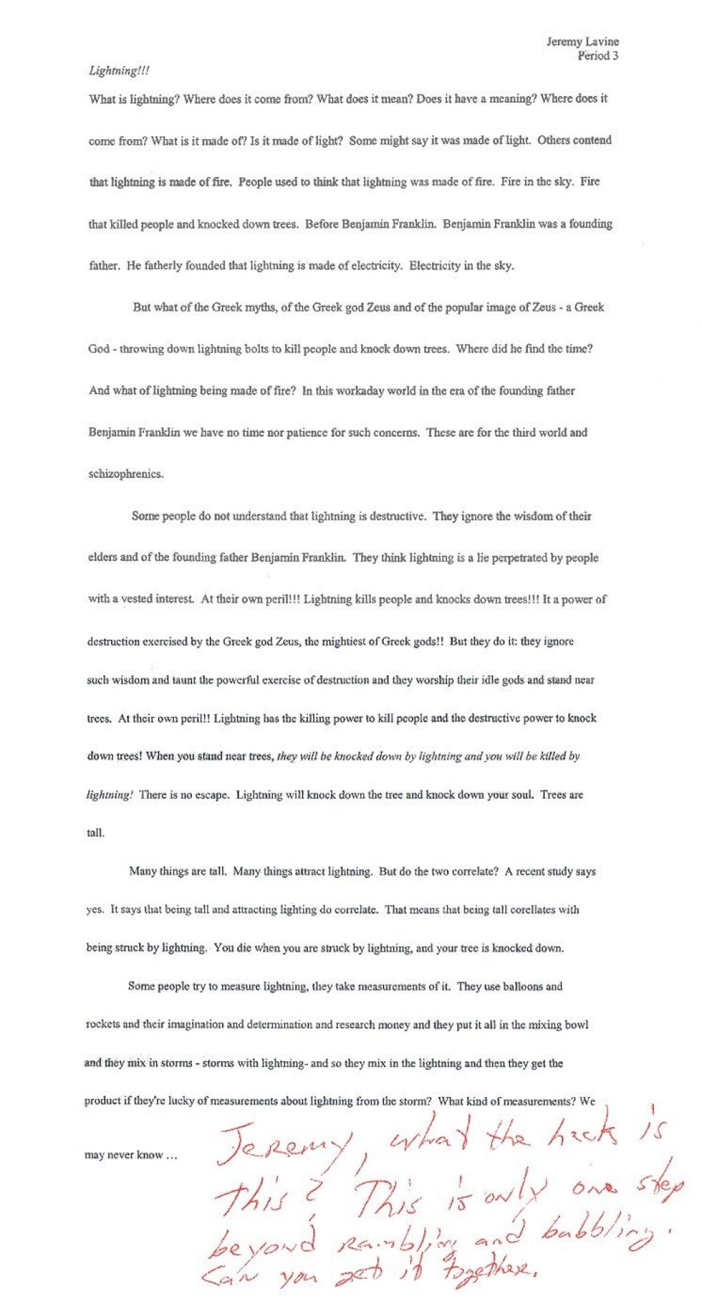 002 Essay  Lightning Funny Essays Stupendous Topics Written By Students For CollegeLarge