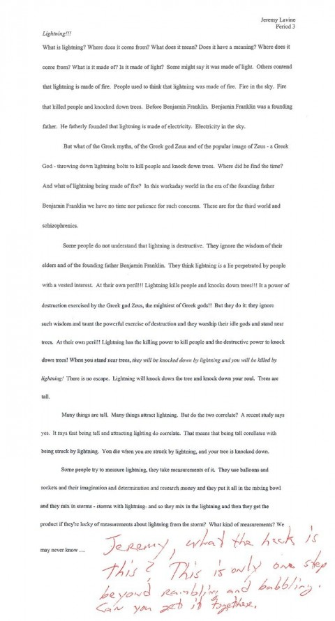 002 Essay  Lightning Funny Essays Stupendous Topics Written By Students For College480