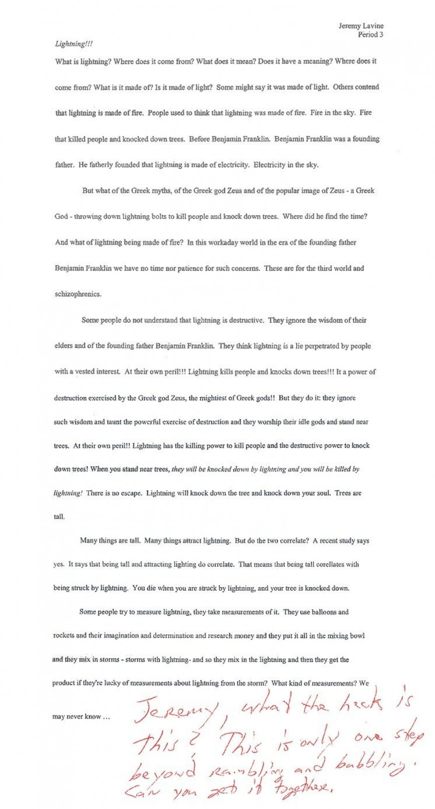 002 Essay  Lightning Funny Essays Stupendous Topics Written By Students For College868