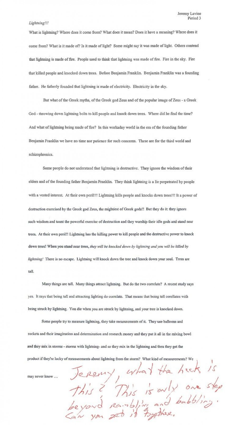 002 Essay  Lightning Funny Essays Stupendous Topics Written By Students For College960