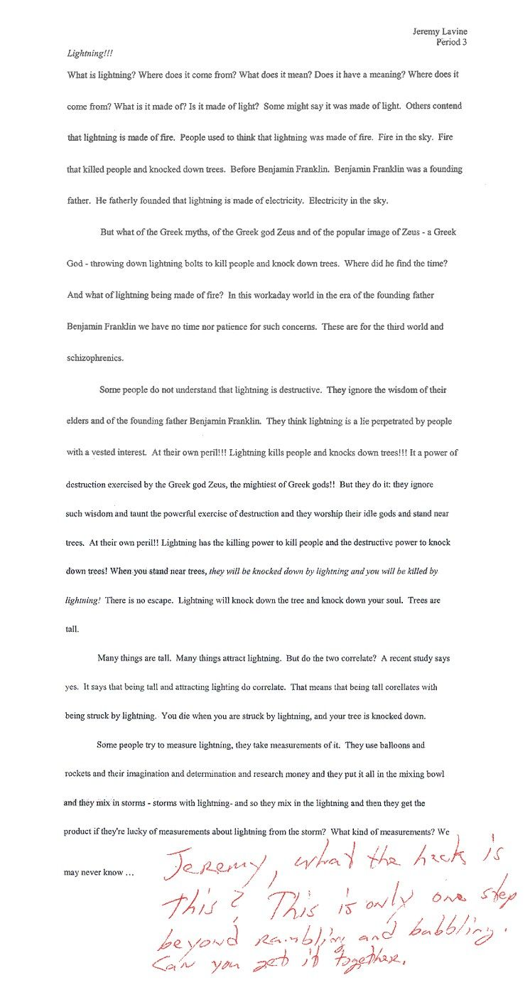 002 Essay  Lightning Funny Essays Stupendous Topics Written By Students For CollegeFull