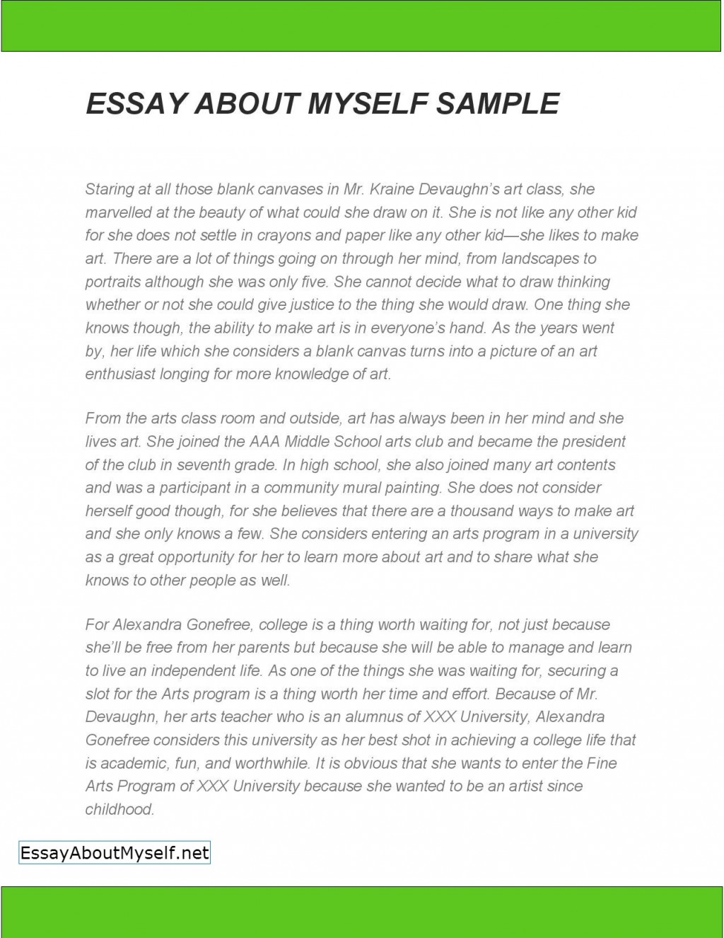002 Essay About Myself Sample Fearsome For College Title Large