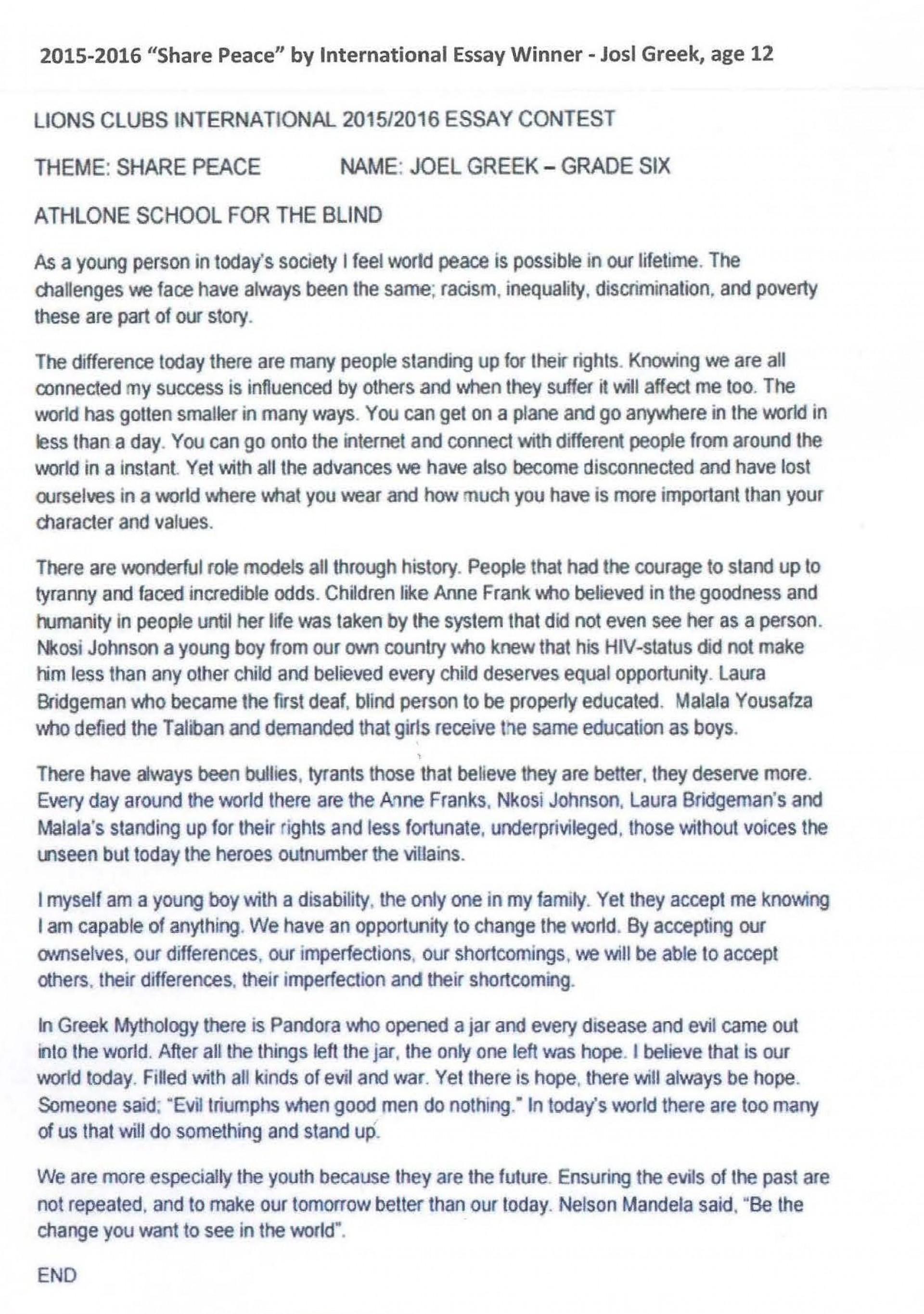 002 Essay Contest Winner If I Were Blind Singular 1920