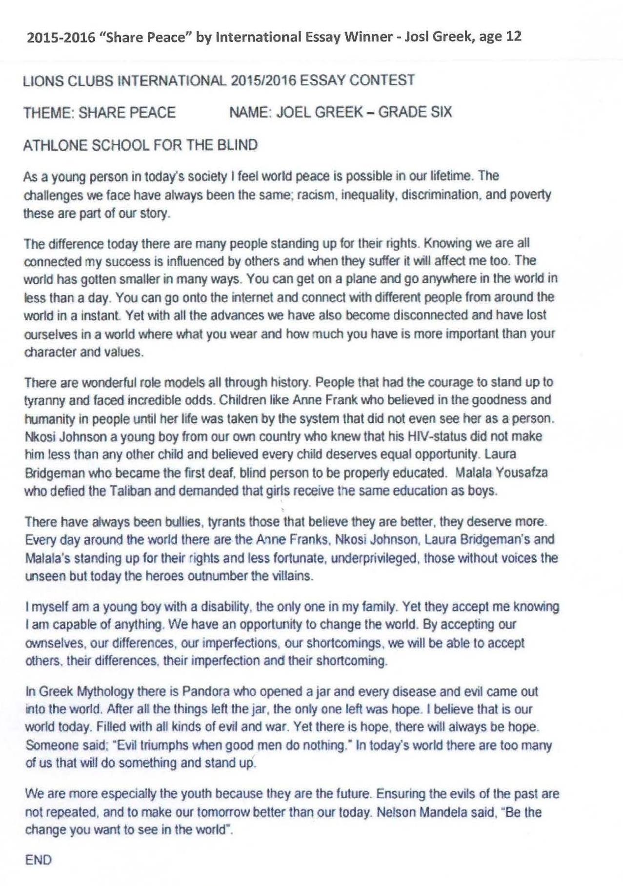 002 Essay Contest Winner If I Were Blind Singular Full