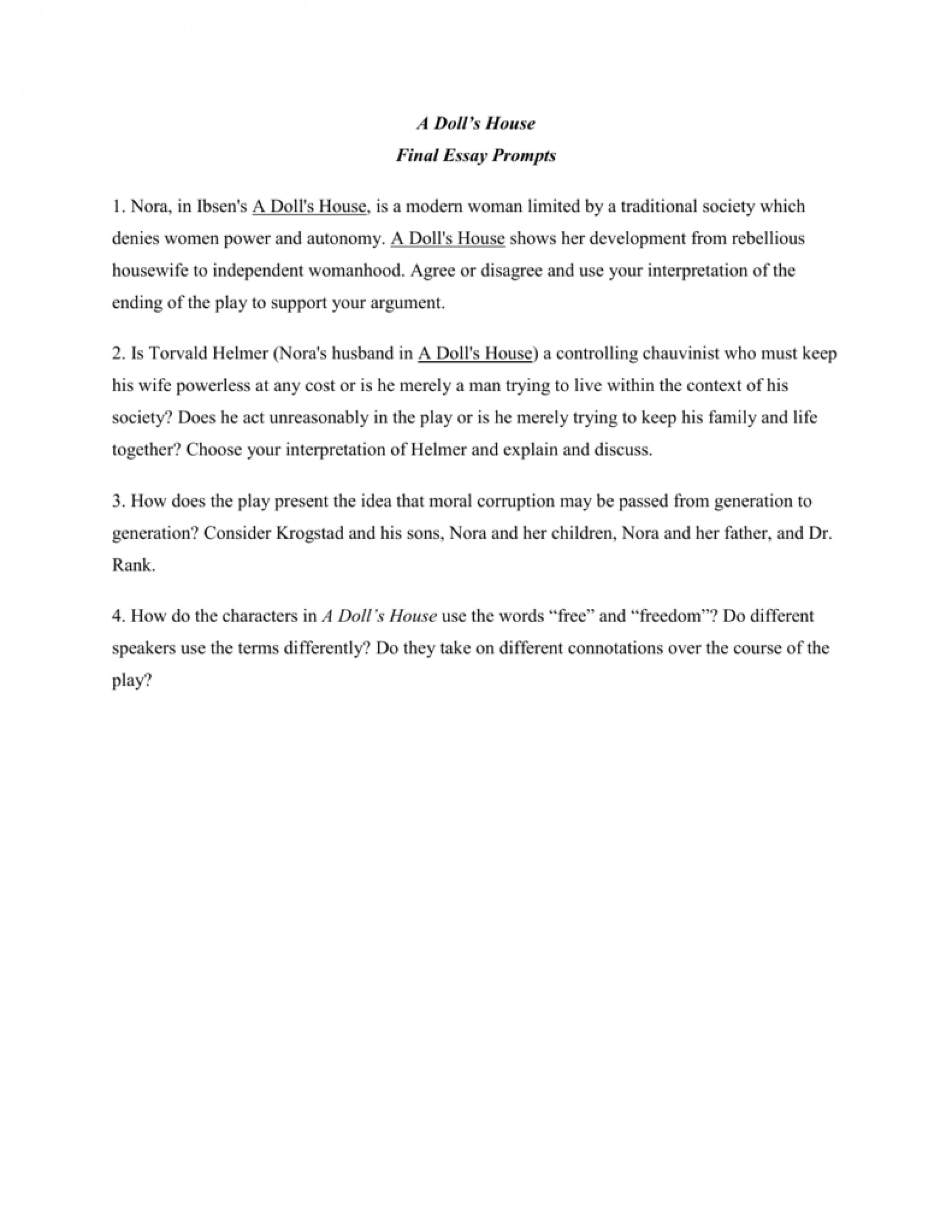 002 Essay Example 008012039 1 Dolls Breathtaking A House Doll's Titles Act 2 Discussion Questions Topics 1920