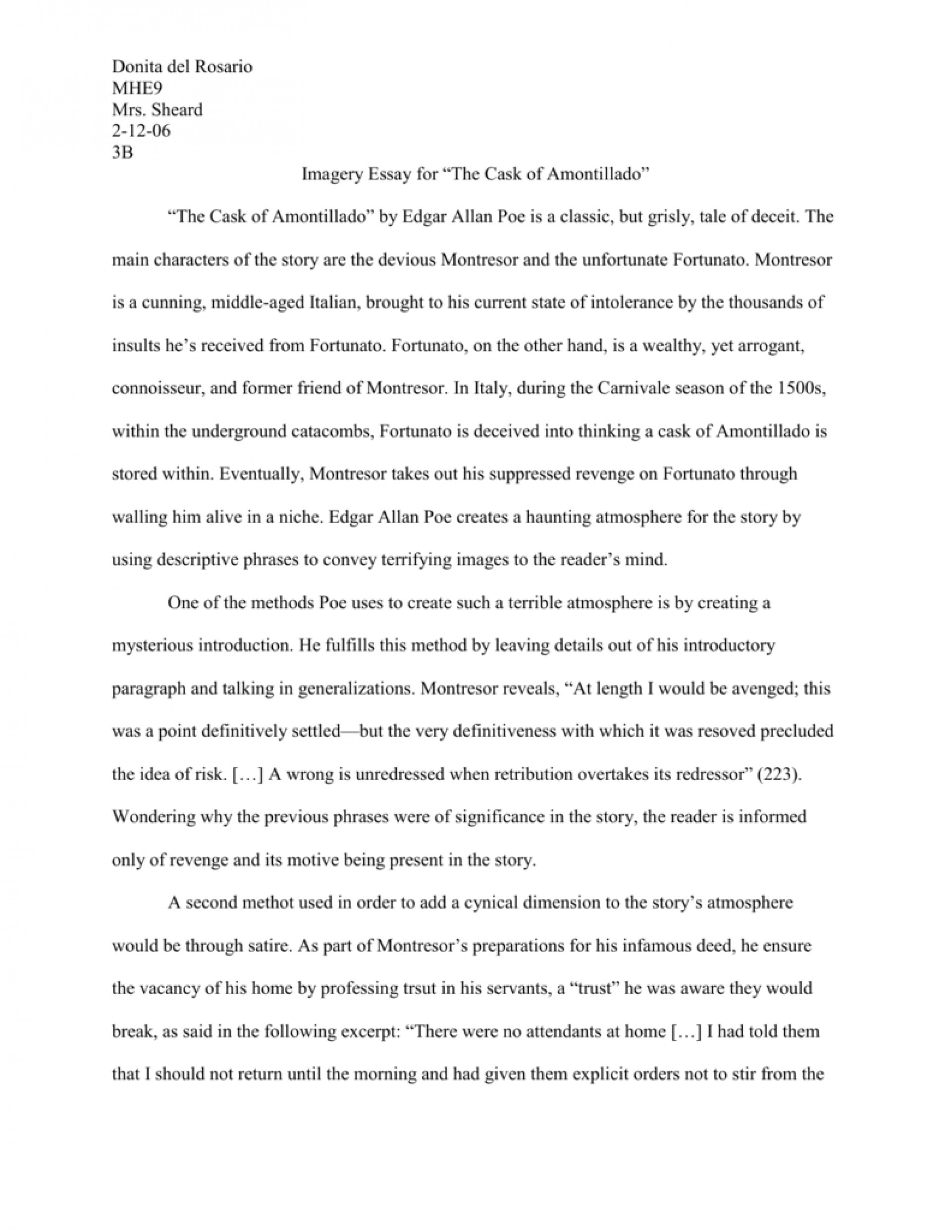 002 Essay Example 008018307 1 The Cask Of Unforgettable Amontillado Topics Conclusion 1920