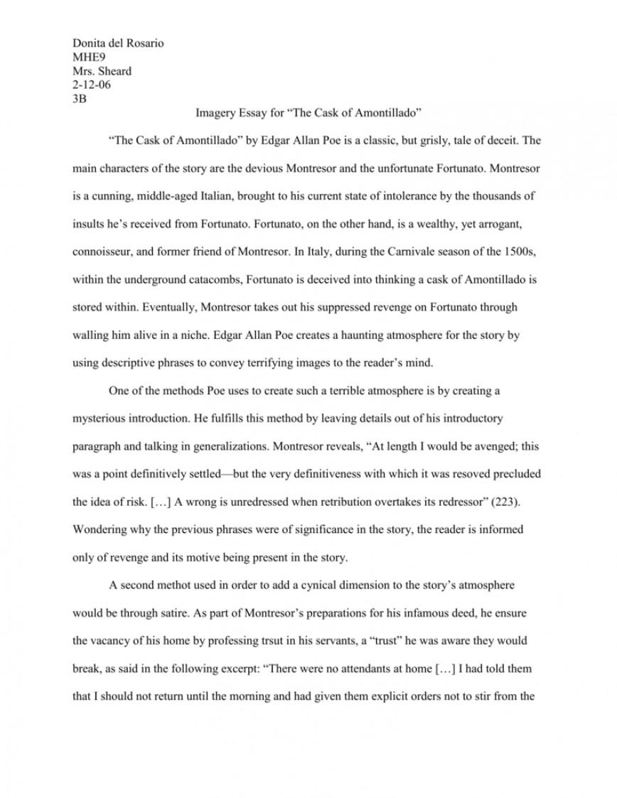 002 Essay Example 008018307 1 The Cask Of Unforgettable Amontillado Revenge Conclusion Thesis
