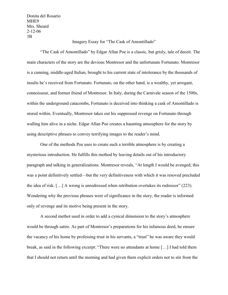 002 Essay Example 008018307 1 The Cask Of Unforgettable Amontillado Outline Prompts Topics Full