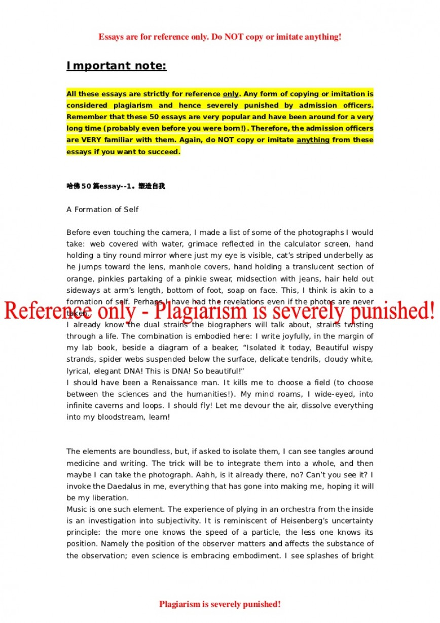 002 Essay Example 50successfulharvardapplicationessays Phpapp02 Thumbnail Harvard Essays That Staggering Worked University Common App Business School 868