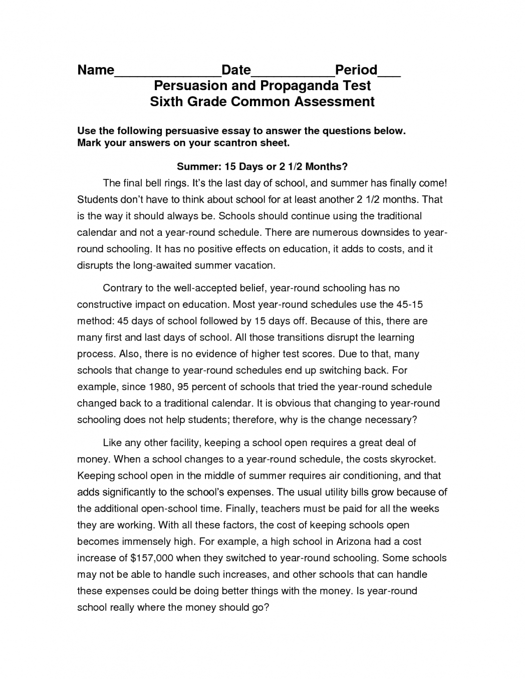 002 Essay Example 6th Grade Argumentative Examples Claim Writing Topics For School Students Counter Argument Persuasive 5 Good Shocking Full