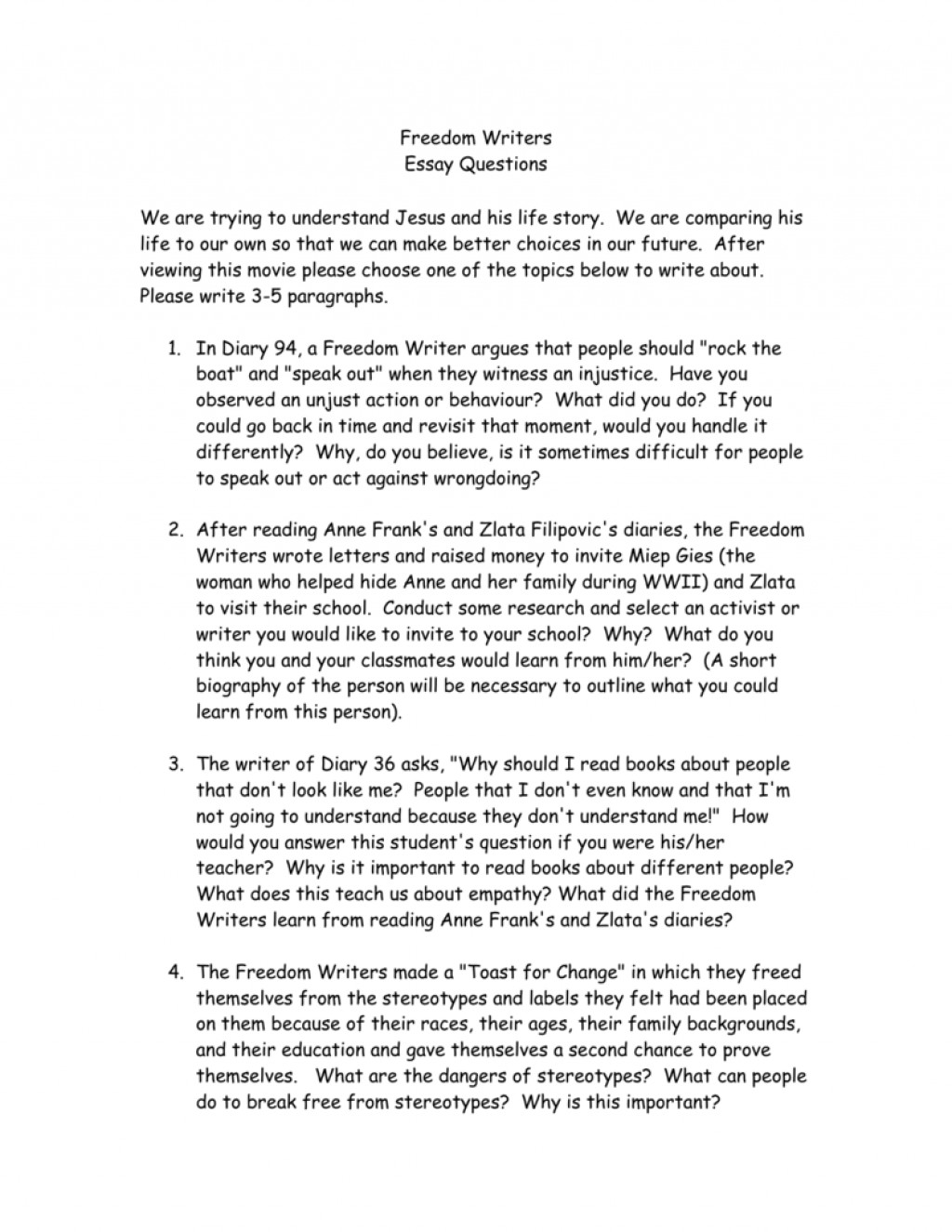 002 Essay Example About Freedom Writers 008984092 1 Striking Questions For Movie Narrative Large