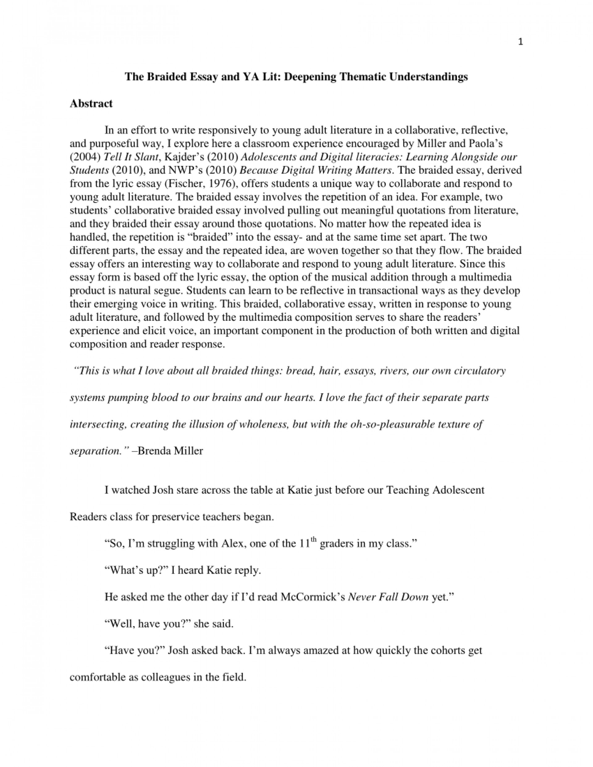 002 Essay Example Braided Astounding Prompts Brevity Definition 1920