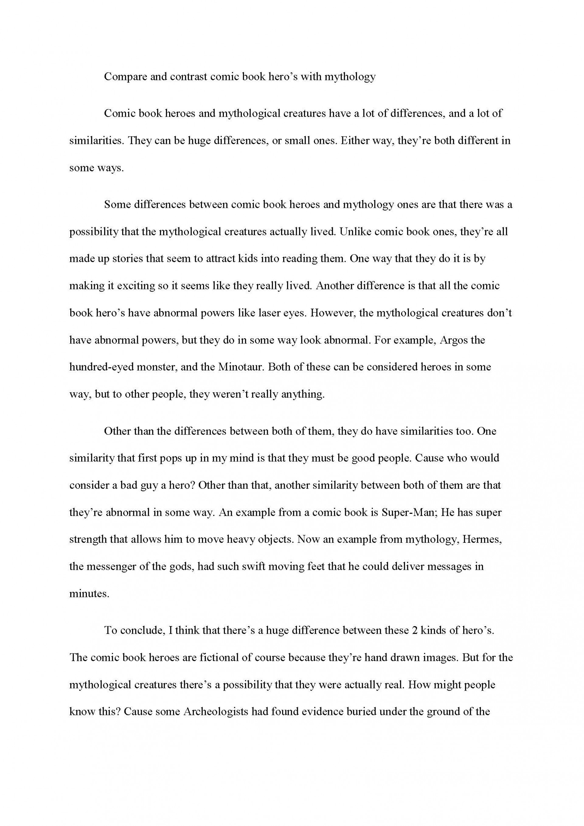 002 Essay Example Comparison And Contrast Examples Compare Frightening Free Pdf College 1920