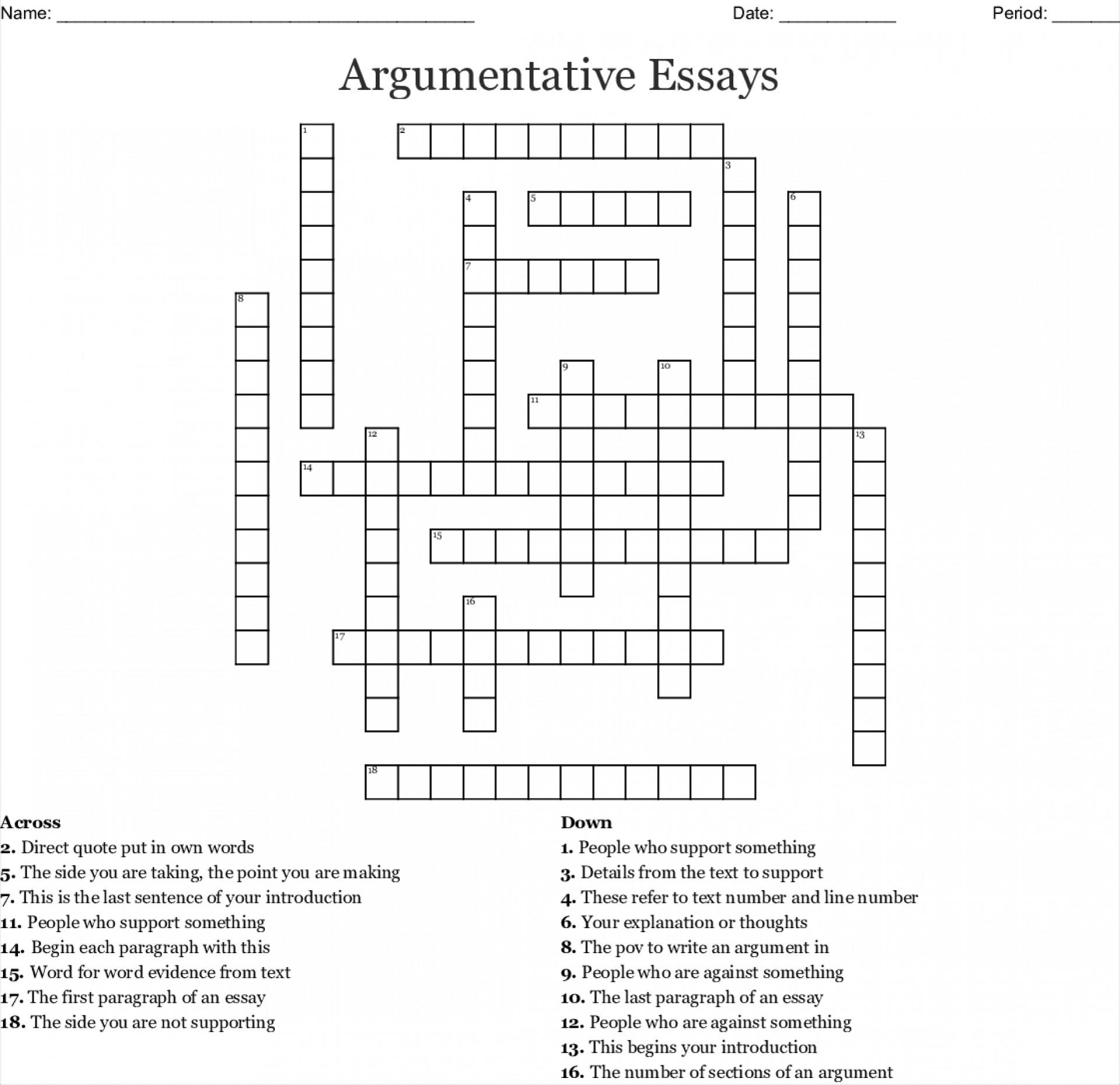 002 Essay Example Crossword Argumentative Essays 553420 Fascinating Byline Clue Short Puzzle Persuasive 1920