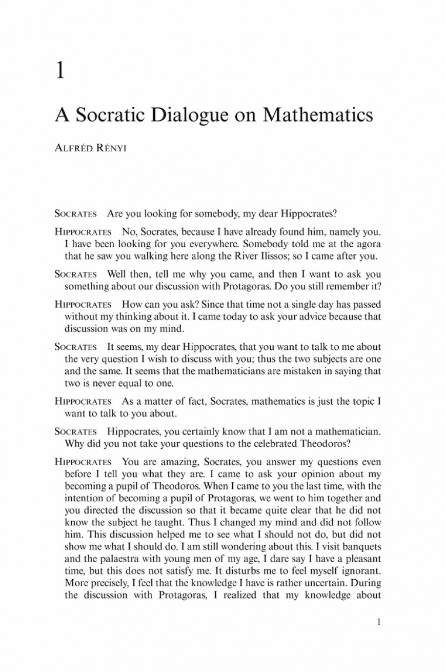 002 Essay Example Dialogue Socratic On Mathematics Springer L Awful Format Spm Examples