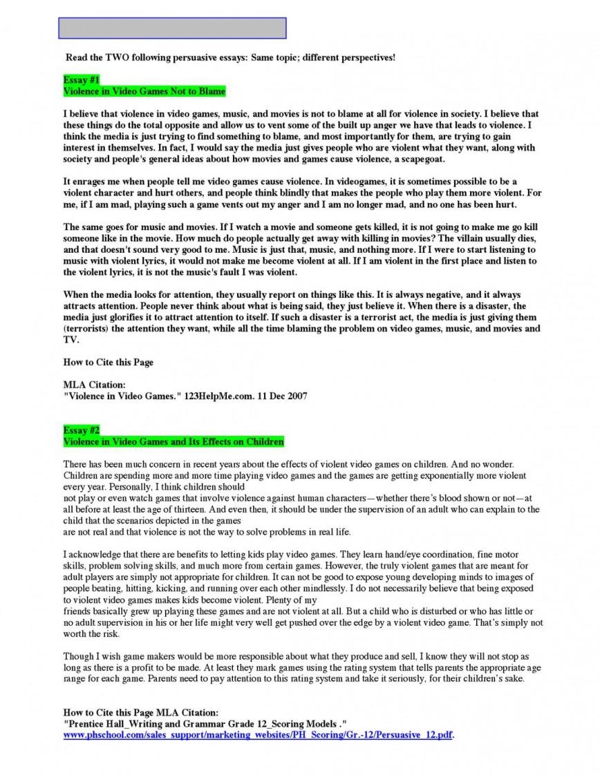 Persuasive Essay: Video Games | blogger.com