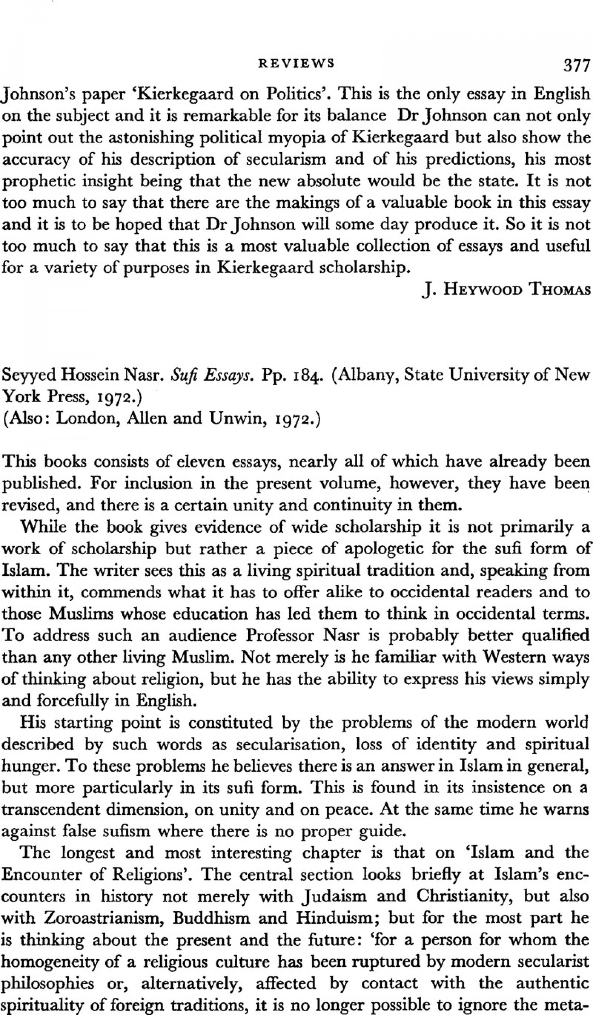 002 Essay Example Firstpage S003441250000785xa Sufi Singular Essays Seyyed Hossein Nasr Pdf 1920