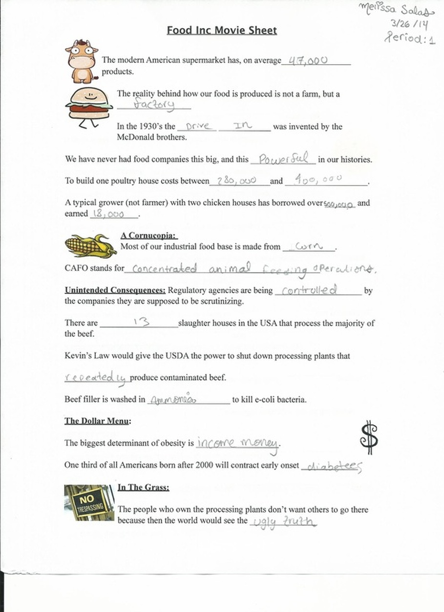 Food inc summary essay