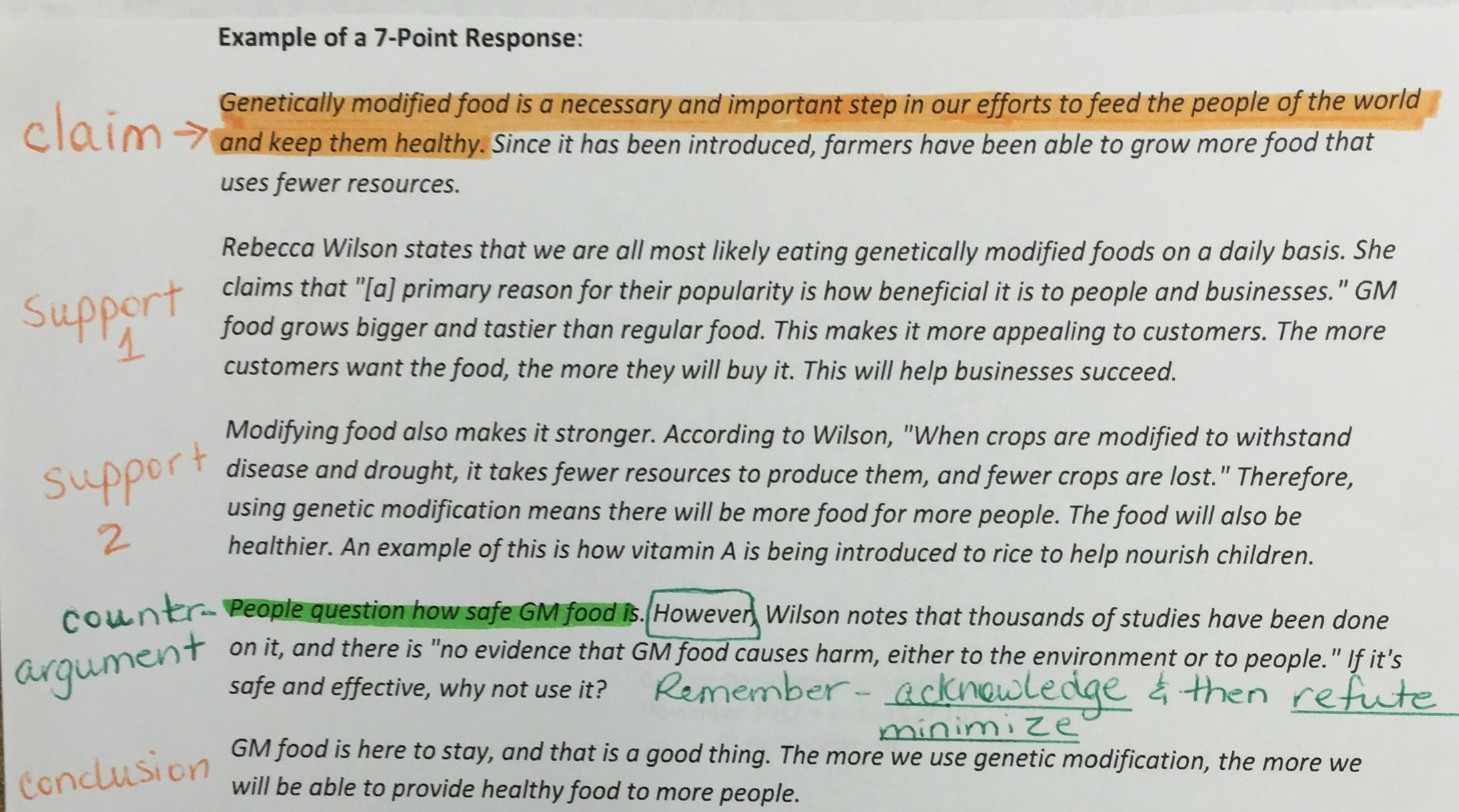 Genetically modified foods argument essay