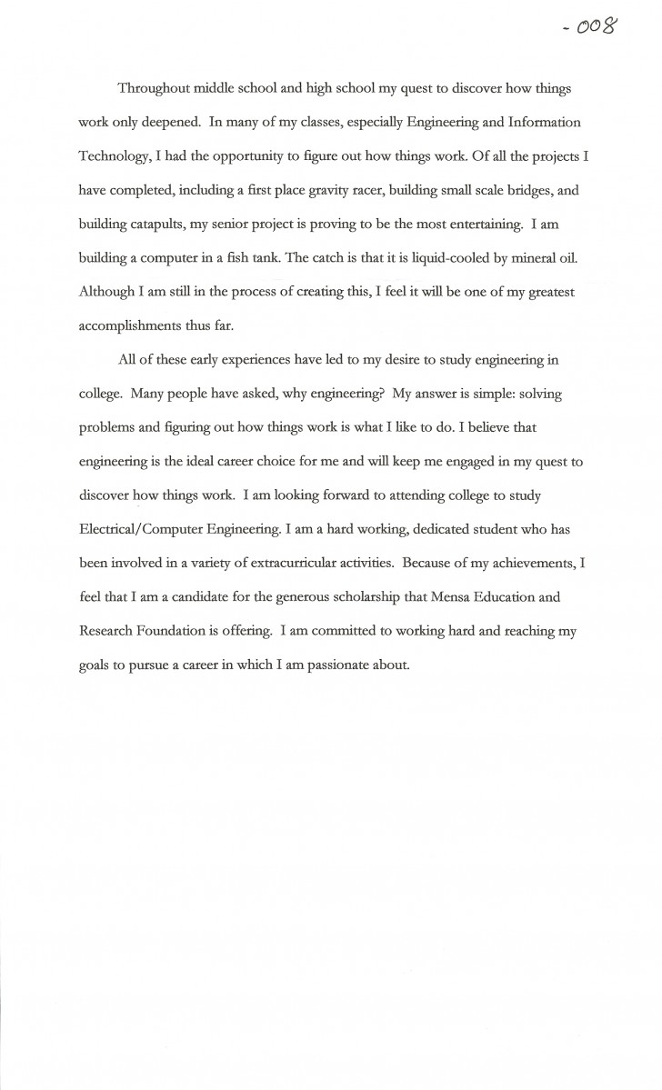 002 Essay Example Goals Joshua Cate Awesome Mba Consulting Academic For College Sample 728