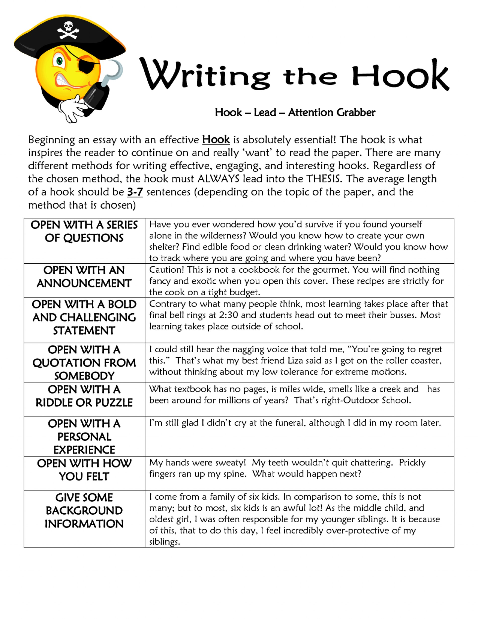 002 Essay Example Hook Striking Definition Examples 1920