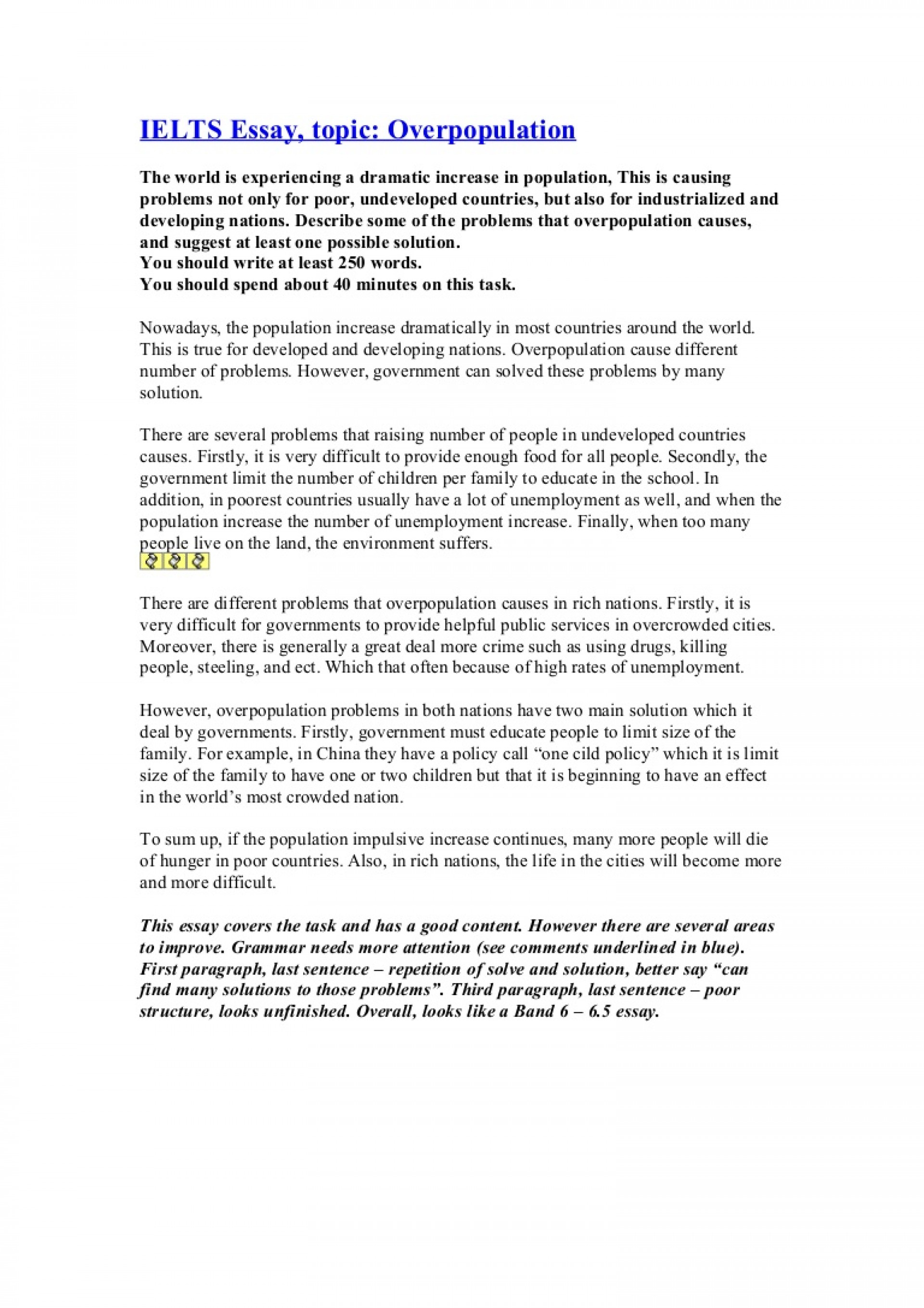 002 Essay Example Ieltsessayoverpopulation Phpapp01 Thumbnail Cause And Effect Of Remarkable Overpopulation 1920