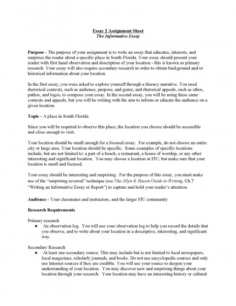 002 Essay Example Informative Topics Unit Assignment Page 1 Remarkable For High School 4th Grade Expository 480