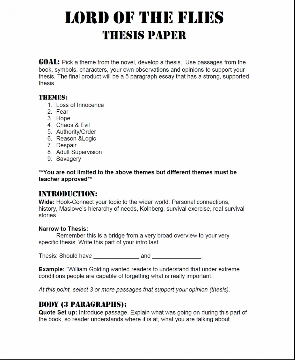 002 Essay Example Lord Of The Flies Thesis Essays On L Unusual Symbolism Beast Introduction Prompt Large