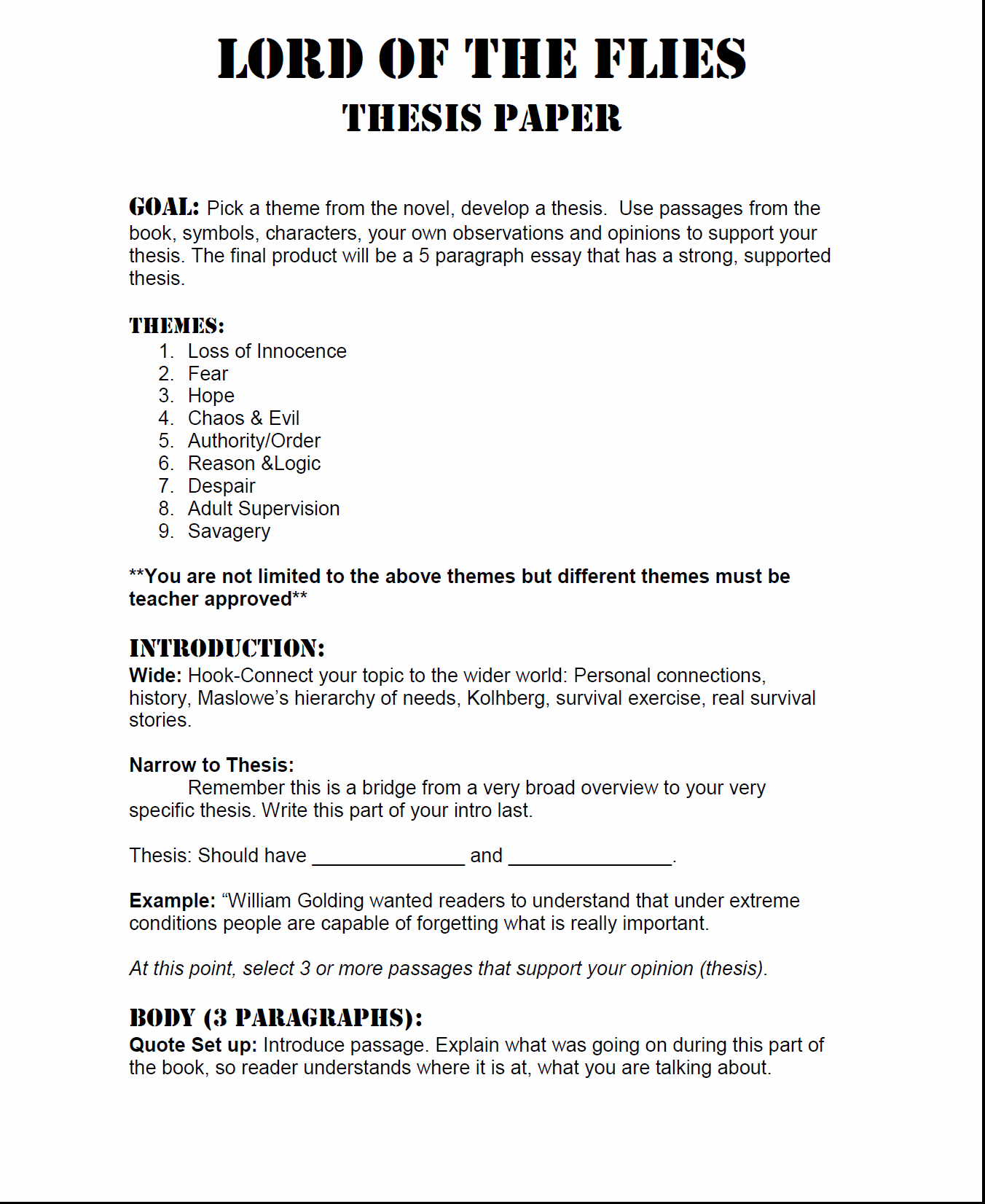 002 Essay Example Lord Of The Flies Thesis Essays On L Unusual Symbolism Beast Introduction Prompt Full