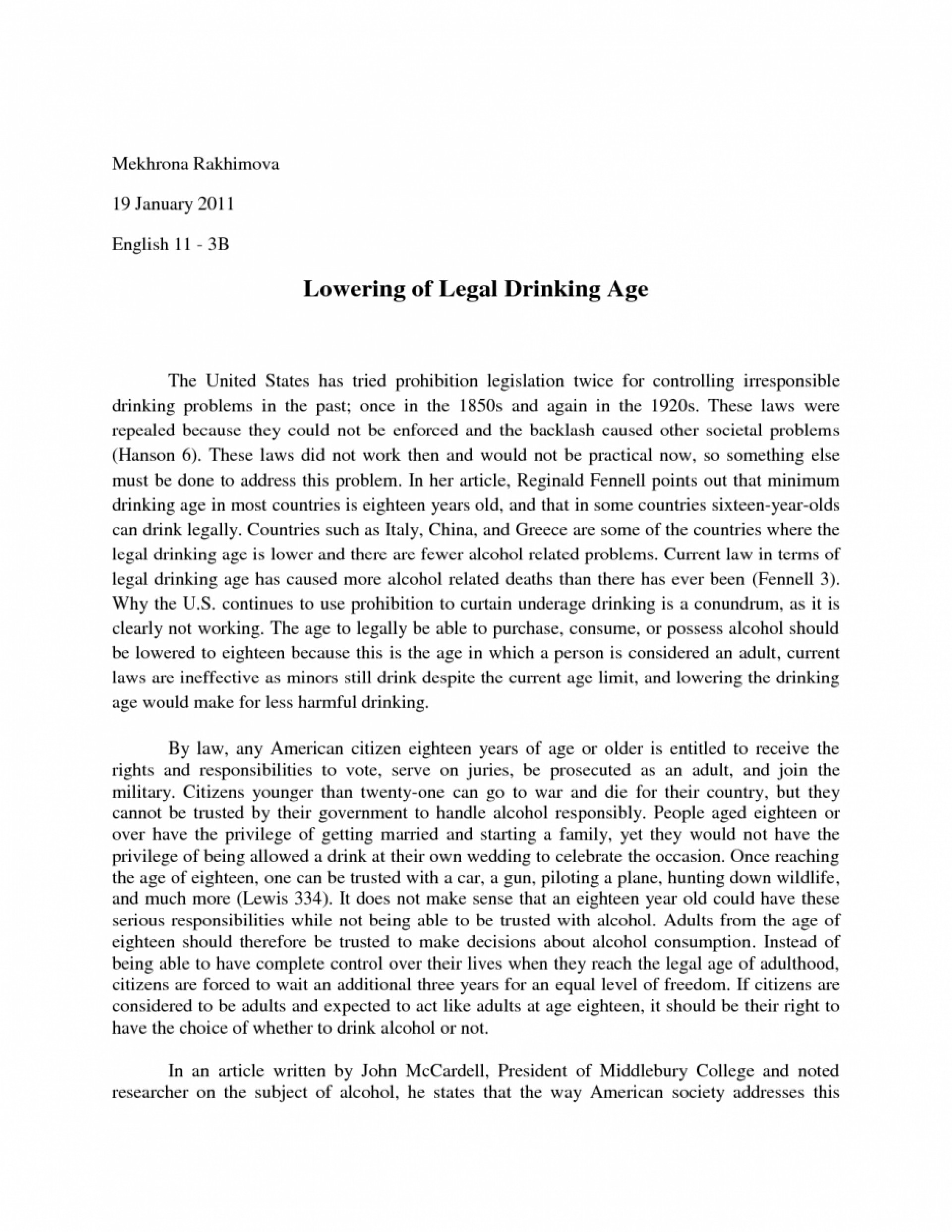 Essays on lowering the drinking age to 18