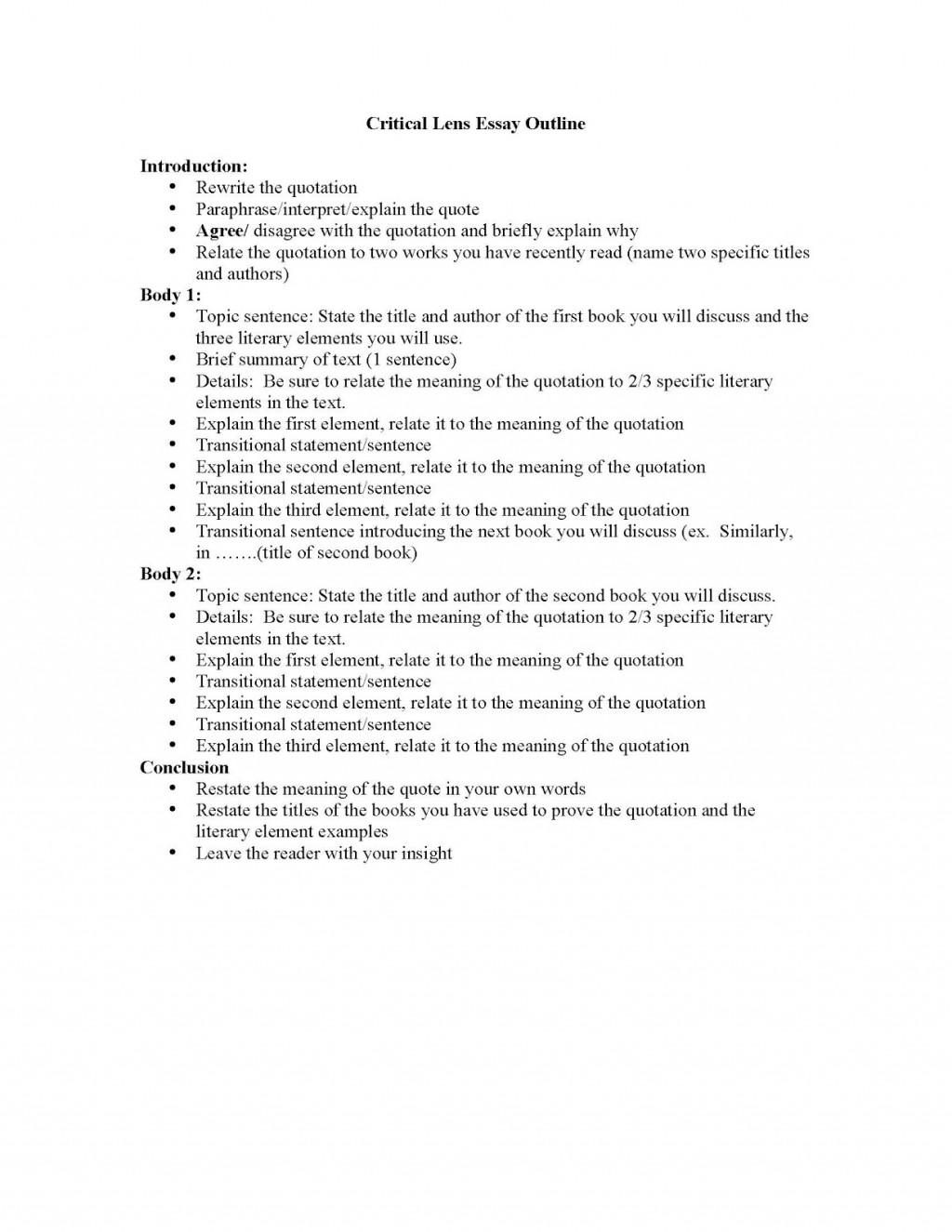 002 Essay Example Outline Of Criticallensessayoutlineandliterayelements Page 1 Impressive Argumentative Sample Mla Format Large