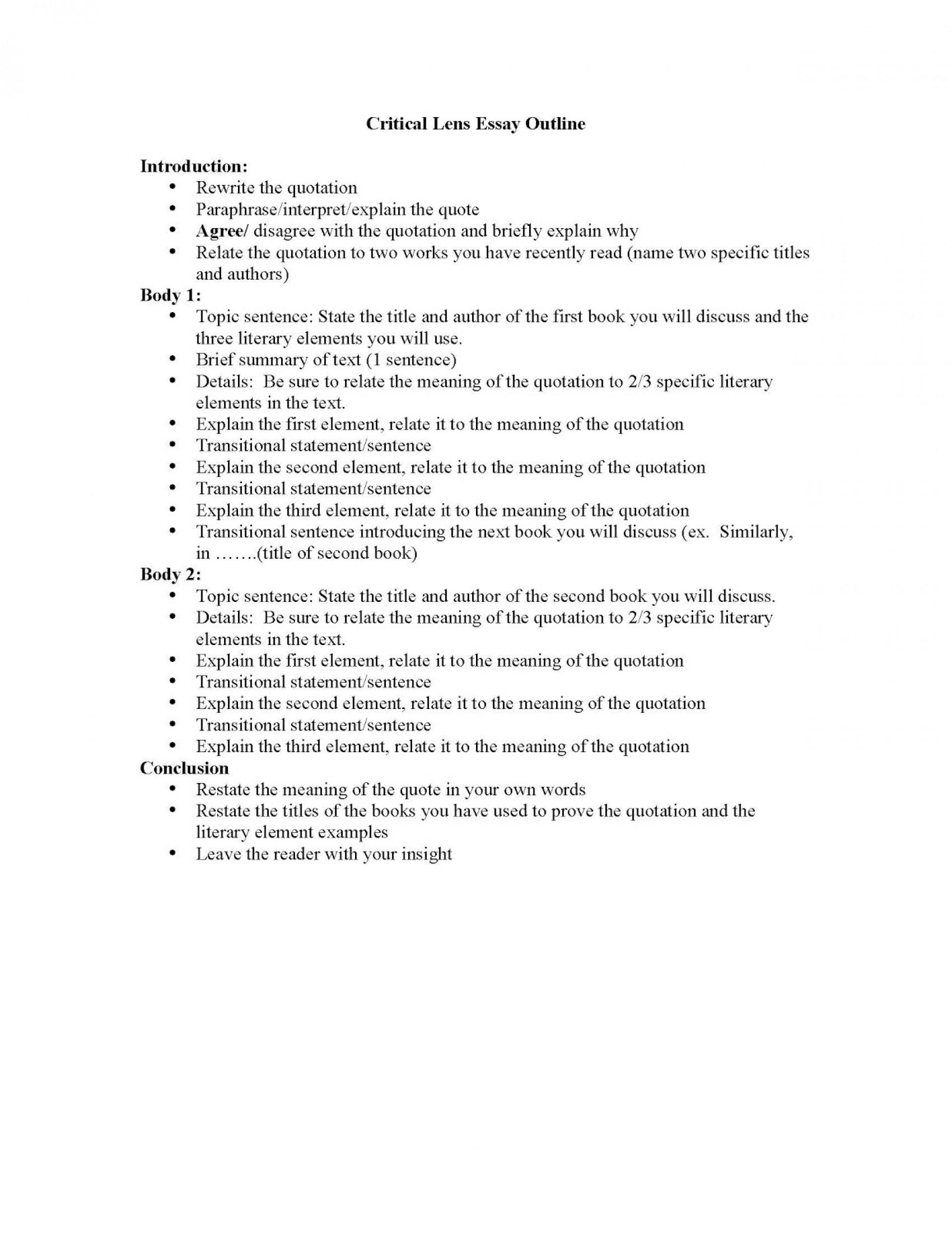 002 Essay Example Outline Of Criticallensessayoutlineandliterayelements Page 1 Impressive Argumentative Sample Mla Format 1920