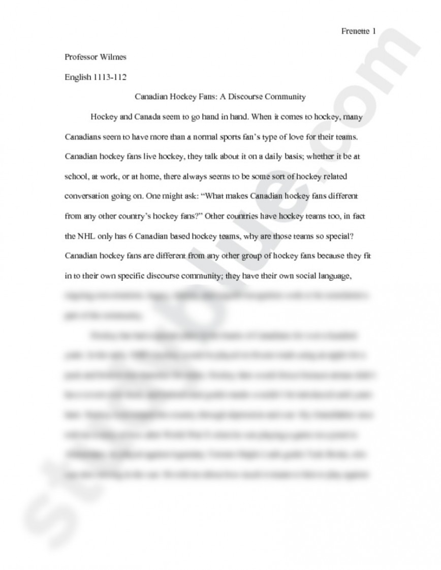002 Essay Example Preview0 Discourse Unusual Community Ethnography Swales