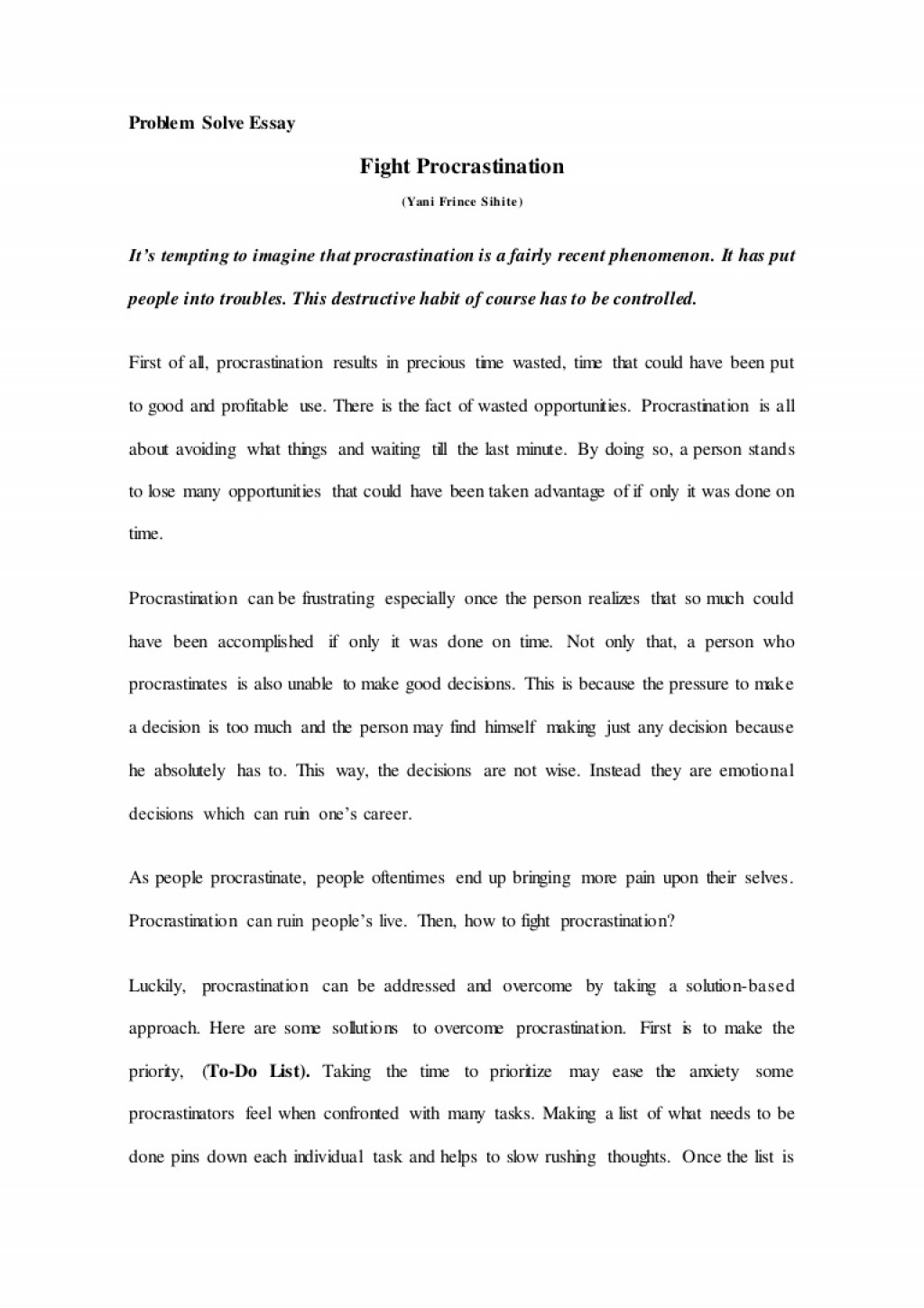 002 Essay Example Problemsolveessay Thumbnail Breathtaking Procrastination Introduction Cause And Effect Writing Large