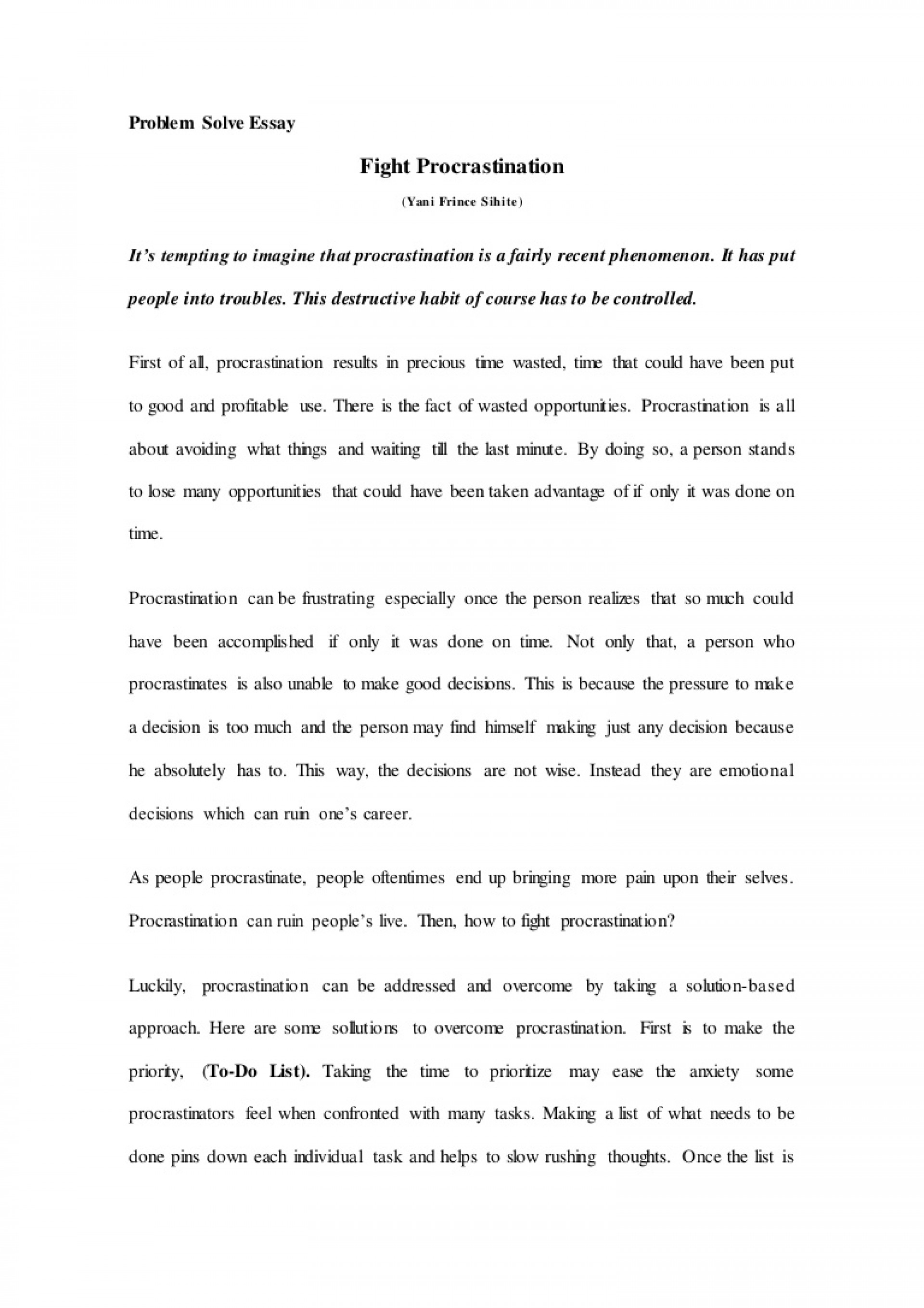 002 Essay Example Problemsolveessay Thumbnail Breathtaking Procrastination Introduction Cause And Effect Writing 1920