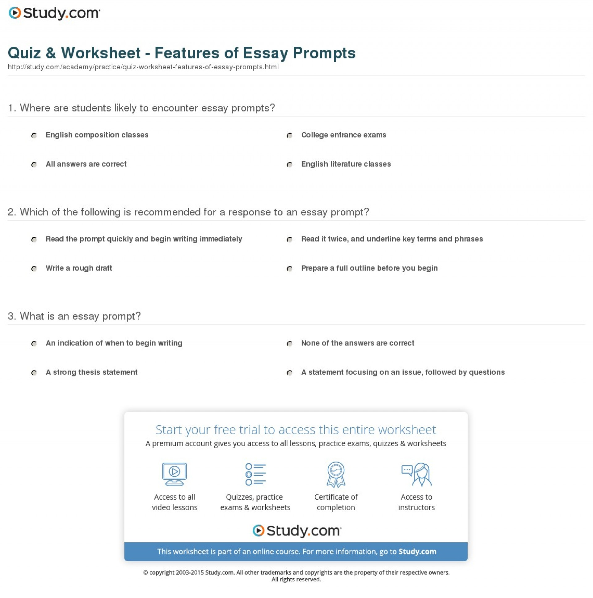 002 Essay Example Prompt Definition Quiz Worksheet Features Of Fascinating 1920