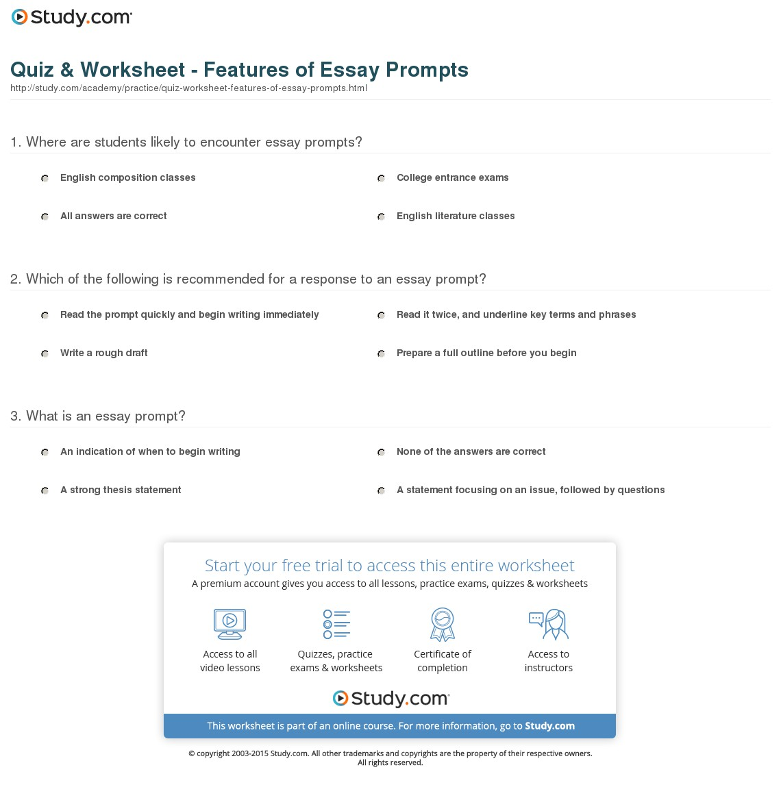002 Essay Example Prompt Definition Quiz Worksheet Features Of Fascinating Full
