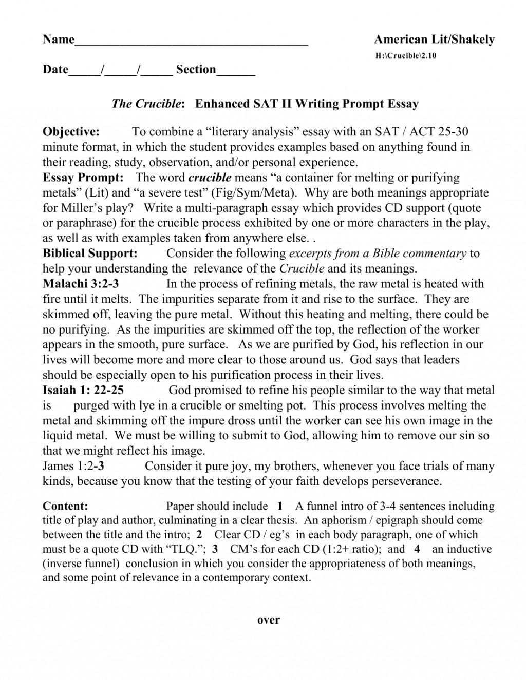 Madison : Sat practice test 5 essay example
