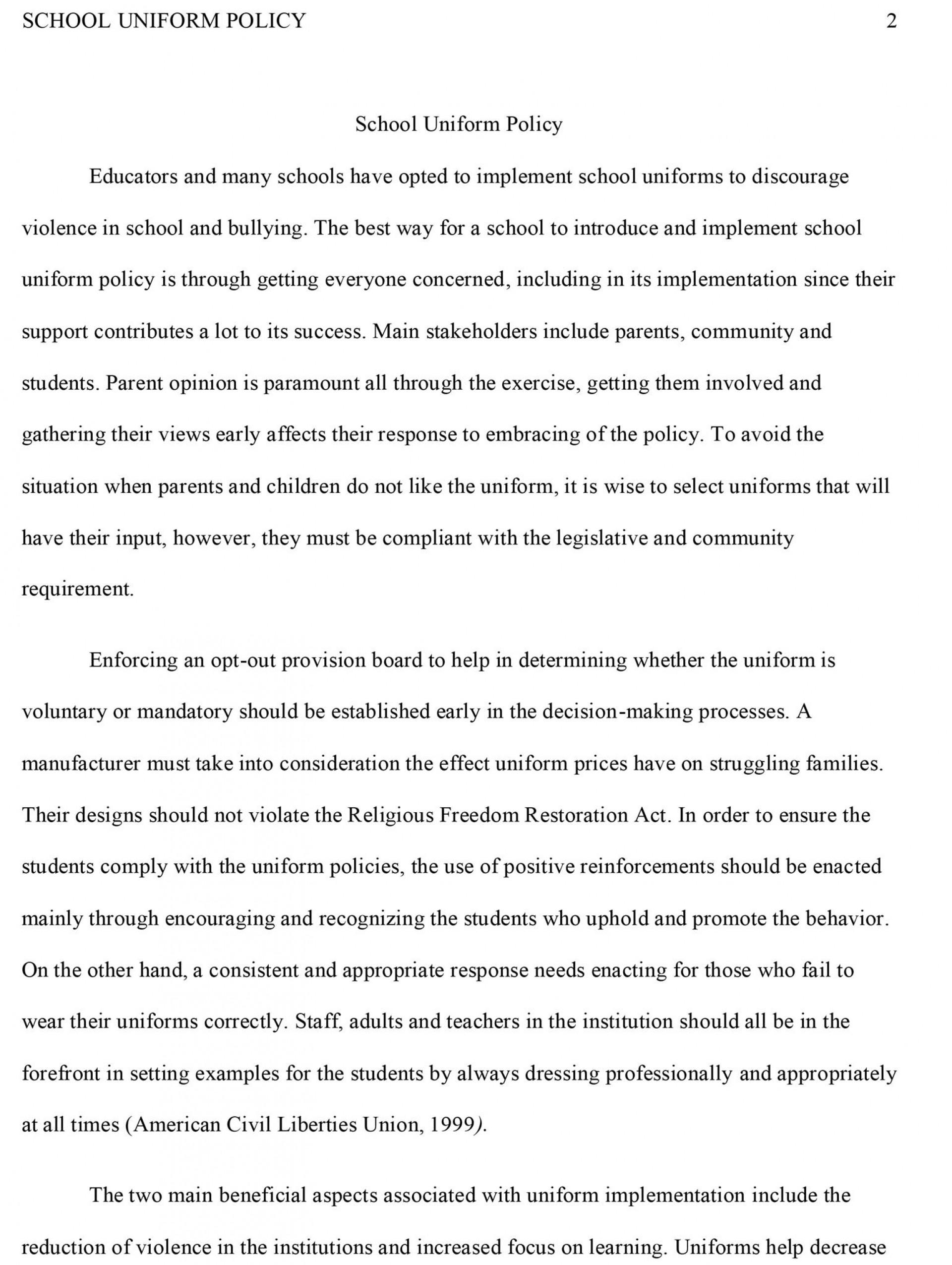 002 Essay Example School Sample Impressive Uniforms Against Conclusion Outline 1920
